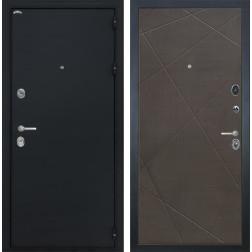 Входная дверь Интекрон Греция Лучи-М (Чёрный шелк / Венге распил кофе)