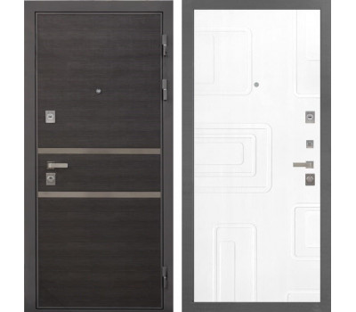 Входная металлическая дверь Интекрон Неаполь Элит (Лен Сильвер / Роял Вуд белый)