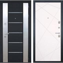 Входная дверь Интекрон Вельс Лучи-М (Черный металлик / Софт Милк)