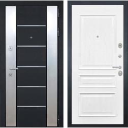 Входная дверь Интекрон Вельс Валентия-2 Шпон (Черный металлик / Ясень жемчуг)