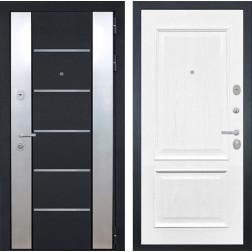 Входная дверь Интекрон Вельс Валентия-4 Шпон (Чёрный металлик / Ясень жемчуг)