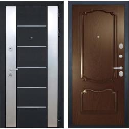 Входная дверь Интекрон Вельс Позитано Шпон (Черный металлик / Дуб бургундский)