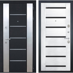 Входная дверь Интекрон Вельс Фоджа Шпон (Чёрный металлик / Ясень жемчуг)