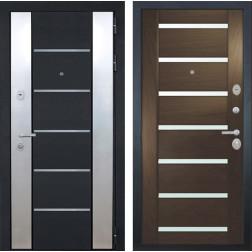 Входная дверь Интекрон Вельс Фоджа Шпон (Черный металлик / Дуб бургундский)