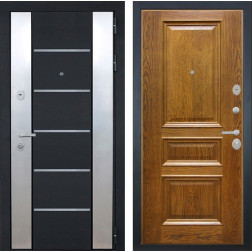 Входная дверь Интекрон Вельс Валентия-2 Шпон (Черный металлик / Дуб бренди)