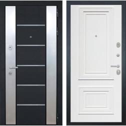 Входная дверь Интекрон Вельс Сан Ремо-1 (Чёрный металлик / Сигнальный белый RAL 9003)