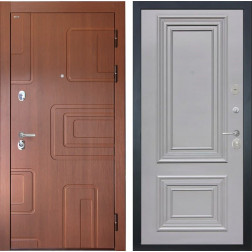 Входная дверь Интекрон Элит Сан Ремо 2 (Лиственница кофе / Пыльно-серый RAL 7037)