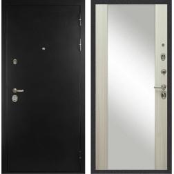 Входная дверь с Зеркалом Дива С-506 Оптима (Чёрная шагрень / Дуб филадельфия крем)