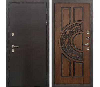 Входная дверь с терморазрывом Лекс Термо Сибирь 3К Голден патина черная (панель №27)