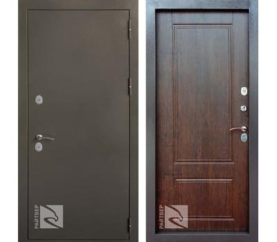 Входная уличная дверь с терморазрывом Райтвер Сибирь Термо(Букле Черный шоколад / Тиковое дерево)