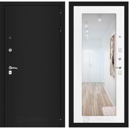 Входная дверь Лабиринт Классик с Зеркалом 18 (Шагрень черная / Белое дерево)