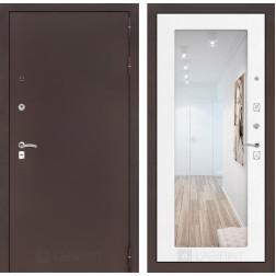 Входная дверь Лабиринт Классик с Зеркалом 18 (Антик медный / Белое дерево)