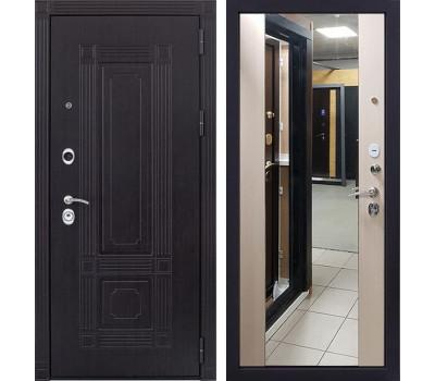 Входная металлическая дверь Италия 3К Стиль с Зеркалом (Венге / Дуб беленый)