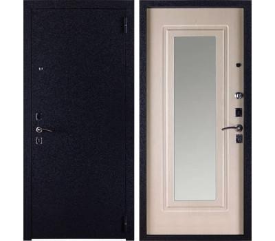 Входная стальная дверь Триумф с Зеркалом (Чёрный крокодил / Дуб беленый)