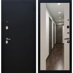 Входная дверь Армада 5А СБ-16 с Зеркалом (Чёрный муар / Лиственница беж)