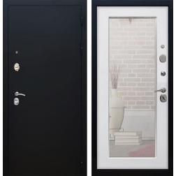 Входная дверь Армада 5А с Зеркалом Пастораль (Чёрный муар / Ясень белый)