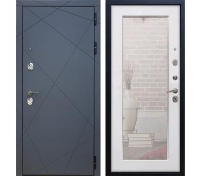 Входная металлическая дверь Армада 13 с Зеркалом Пастораль (Графит софт / Белый ясень)