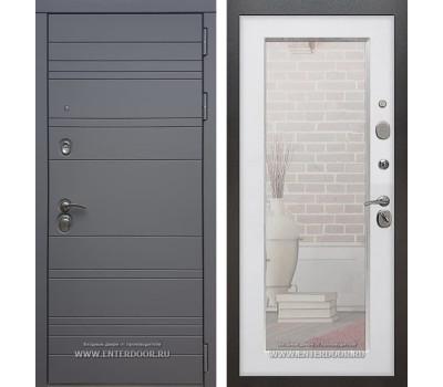 Входная металлическая дверь Армада 14 с Зеркалом Пастораль (Графит софт / Белый ясень)