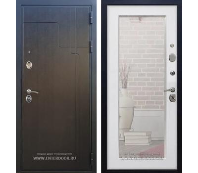 Входная металлическая дверь Армада Премиум 246 с Зеркалом Пастораль (Венге / Белый ясень)