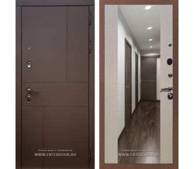Входная металлическая дверь Армада Урбан СБ-16 с Зеркалом (Ясень шоколадный / Лиственница беж)
