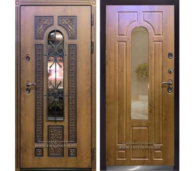 Входная уличная дверь с терморазрывом Термо Лацио (Орех золотой / Орех золотой)