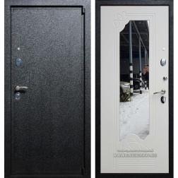 Входная дверь Армада 3 с Зеркалом (Черный крокодил / Белый ясень)