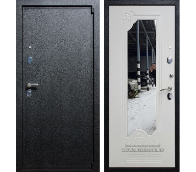 Входная металлическая дверь Армада 3 с Зеркалом (Чёрный крокодил / Белый ясень)