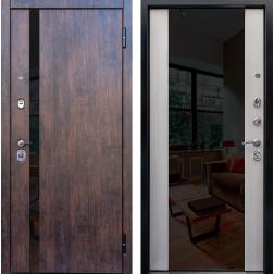 Входная дверь Снедо Премьер 2К Зеркало (Тиковое дерево / Белая лиственница)