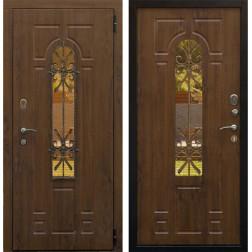 Уличная входная дверь Снедо Лацио 3К с окном и ковкой (Грецкий орех / Грецкий орех)