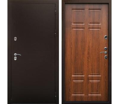 Входная уличная дверь Снедо Сибирь Термо 3К (Медный антик / Дуб филадельфия коньяк)