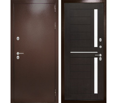 Уличная металлическая дверь Лабиринт Термо Магнит 2 (Антик медный / Венге)