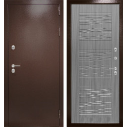 Уличная входная дверь Лабиринт Термо Магнит 6 (Антик медный / Сандал серый)