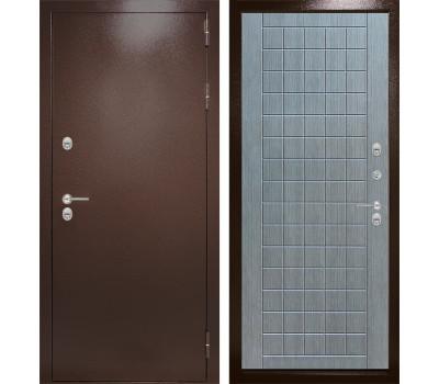 Уличная металлическая дверь Лабиринт Термо Магнит 9 (Антик медный / Лен сильвер грей)