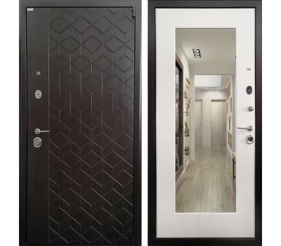 Входная металлическая дверь Ратибор Квант 3К с Зеркалом (ЭкоВенге / Лиственница беж)