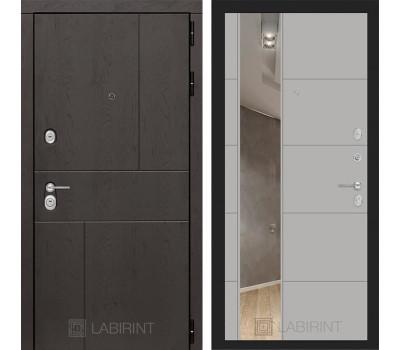 Входная металлическая дверь Лабиринт Урбан 19 Зеркало (Дуб горький шоколад / Грей софт)
