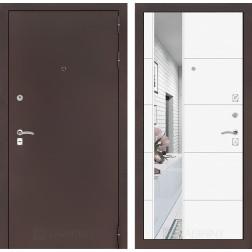 Входная дверь Лабиринт Классик 19 Зеркало (Антик медный / Белый софт)
