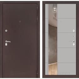 Входная дверь Лабиринт Классик 19 Зеркало (Антик медный / Грей софт)