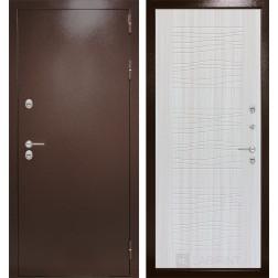 Уличная входная дверь Лабиринт Термо Магнит 6 (Антик медный / Сандал белый)