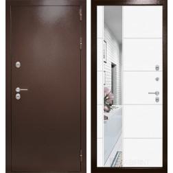 Уличная дверь Лабиринт Термо Магнит 19 Зеркало (Антик медный / Белый софт)