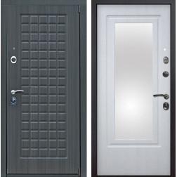 Входная металлическая дверь Мадрид Зеркало (Дуб серый / Белая патина)