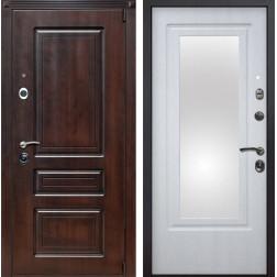 Входная металлическая дверь Неаполь Зеркало (Вишня тёмная / Белая патина)