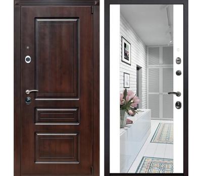 Входная металлическая дверь Неаполь Зеркало Премиум (Вишня тёмная / Белый)