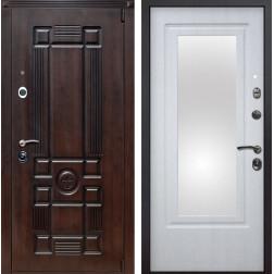 Входная металлическая дверь Рим Зеркало (Вишня тёмная / Белая патина)