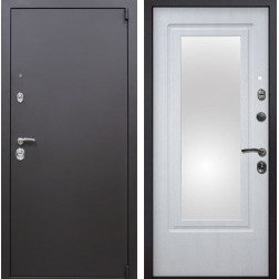 Входная металлическая дверь Квадро Зеркало (Искра коричневая / Белая патина)