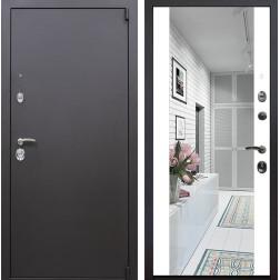 Входная дверь Квадро Зеркало Премиум (Искра коричневая / Белый)