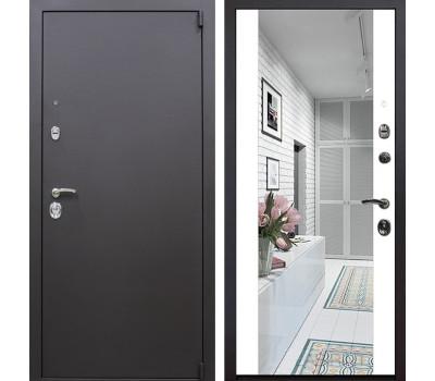 Входная металлическая дверь Квадро Зеркало Премиум (Искра коричневая / Белый)