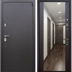 Входная дверь Квадро Зеркало Премиум (Искра коричневая / Венге)
