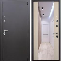 Входная дверь Квадро Зеркало Премиум (Искра коричневая / Капучино)