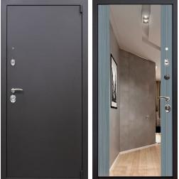 Входная дверь Квадро Зеркало Премиум (Искра коричневая / Сандал серый)