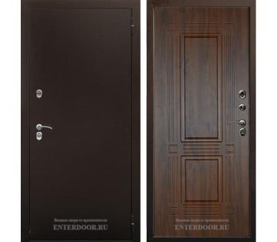 Уличная металлическая дверь с терморазрывом Аргус Тепло-2 (Молотковая коричневая / Дуб тёмный)